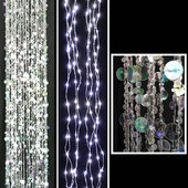DecoStar™ Double-Layer LED Lighted Chandelier w/ Crystal & Silver Beads