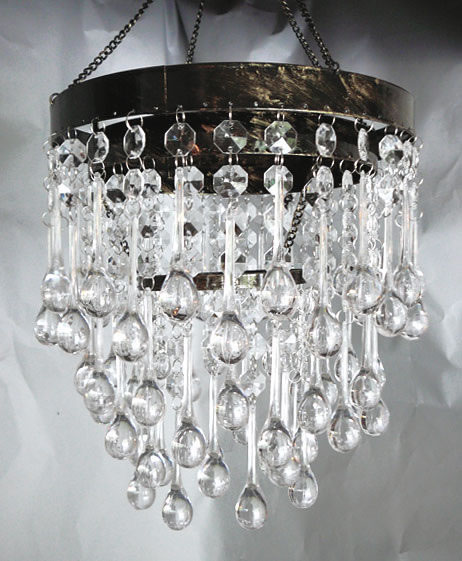Grand Cascade Chandelier Silver Ft Long - Chandelier crystals teardrop