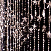DecoStar™ 6ft Silver Iridescent Stars and Moon Curtain