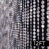 DecoStar™ 12ft. Jewel Crystal Iridescent Diamond Cut Curtain