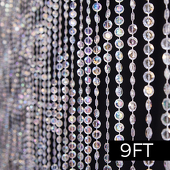 DecoStar™ 9ft. Jewel Crystal Iridescent Diamond Cut Curtain
