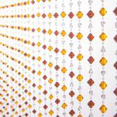DecoStar™ 6ft Gemstone Amber & Brown Non-Iridescent Crystal Beaded Curtain