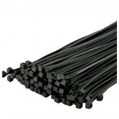 8 Inch, 40 LBS Nylon Cable Zip Wire Ties BLACK - 100 Pack