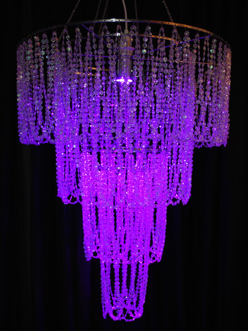 4 Tiered Chandelier with Layered Diamond Cut Beads