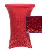 "Perfect Fit Sequin Spandex Cocktail Table Cover 30""-32"" Round - Apple Red"