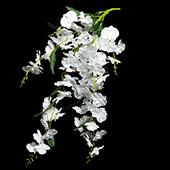Artificial Drooping Flower w/ Leaves - 16 Pieces - White