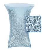 "Perfect Fit Sequin Spandex Cocktail Table Cover 30""-32"" Round - Baby Blue"