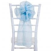 "DecoStar™ 9"" Sheer Flower Chair Accent - Baby Blue"