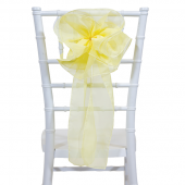 "DecoStar™ 9"" Sheer Flower Chair Accent - Baby Yellow"