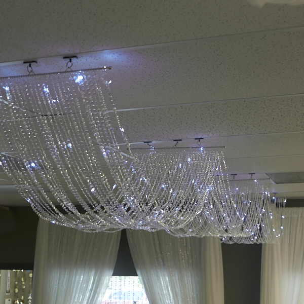 15ft Crystal Ceiling Draping Panel W Led Lights Pure White