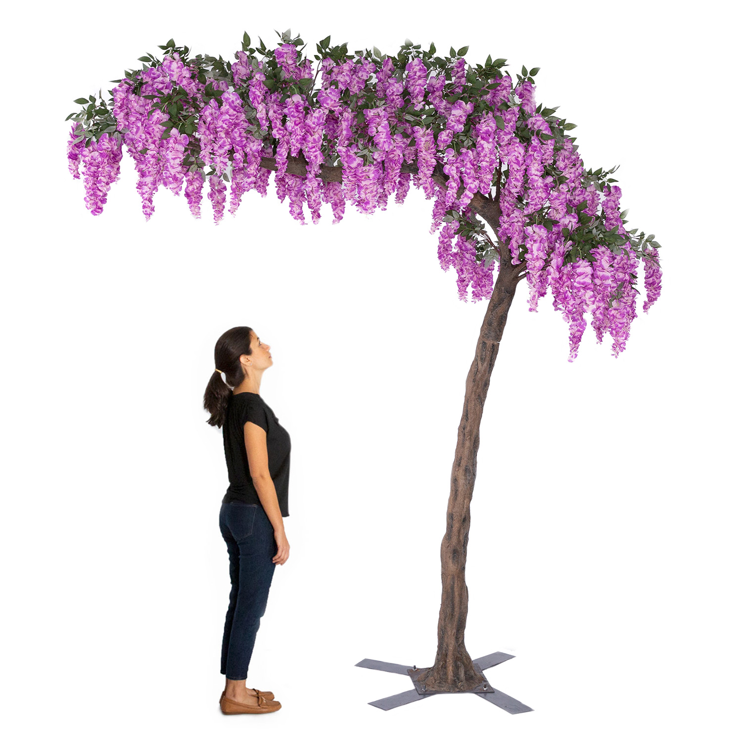11 Feet Tall Grand Arch Fake Wisteria Tree Light Purple