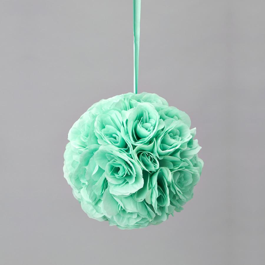 Decostar rose silk flower pomander kissing ball 10 12 pieces mint tap to expand mightylinksfo