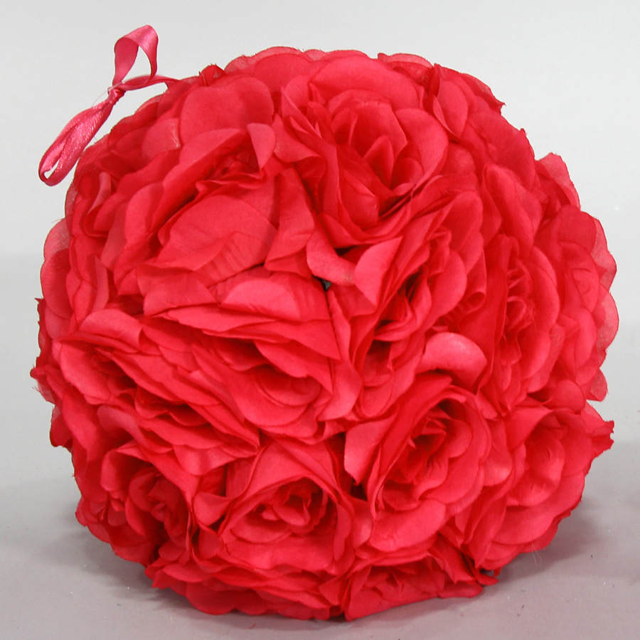 Decostar rose silk flower pomander kissing ball 10 12 pieces red tap to expand mightylinksfo