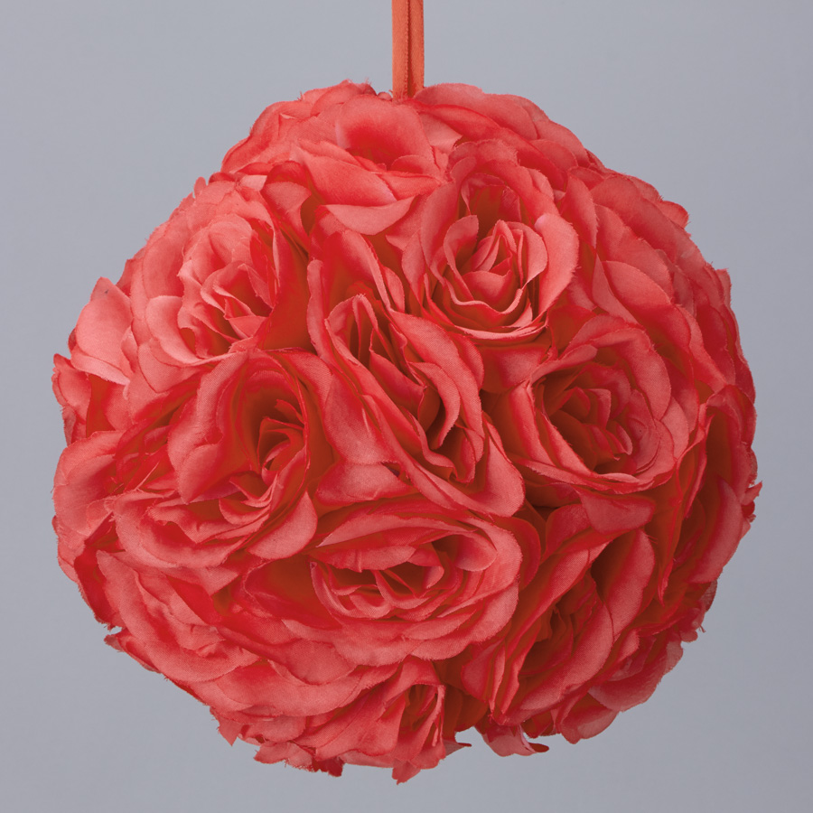 Decostar rose silk flower pomander kissing ball 12 10 pieces coral tap to expand mightylinksfo