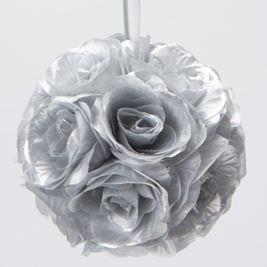 Decostar rose silk flower pomander kissing ball 12 10 pieces silver tap to expand mightylinksfo