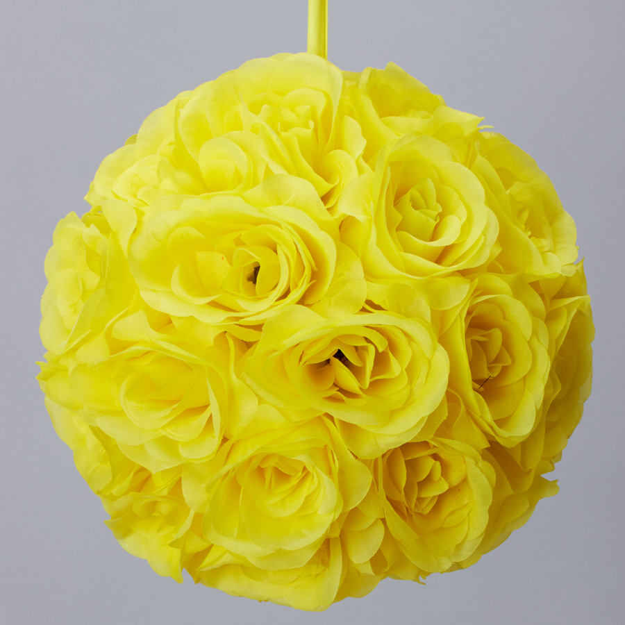 Decostar rose silk flower pomander kissing ball 12 10 pieces yellow tap to expand mightylinksfo