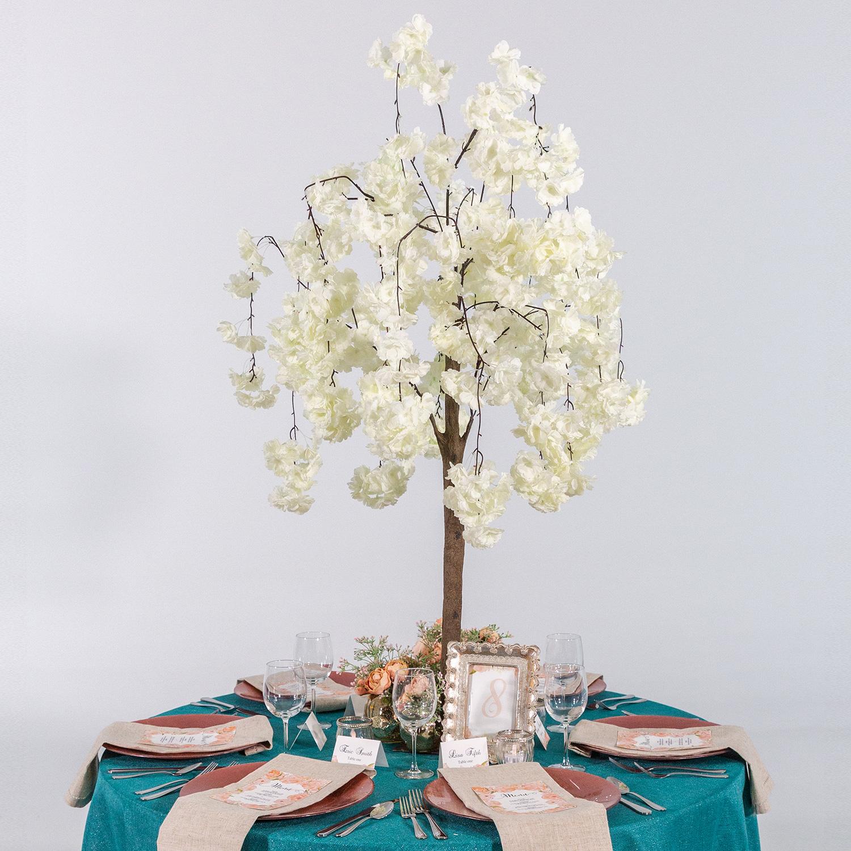 Surprising 52 4 3Ft Tall Fake Wisteria Bloom Tabletop Centerpieces Tree White Interior Design Ideas Gresisoteloinfo