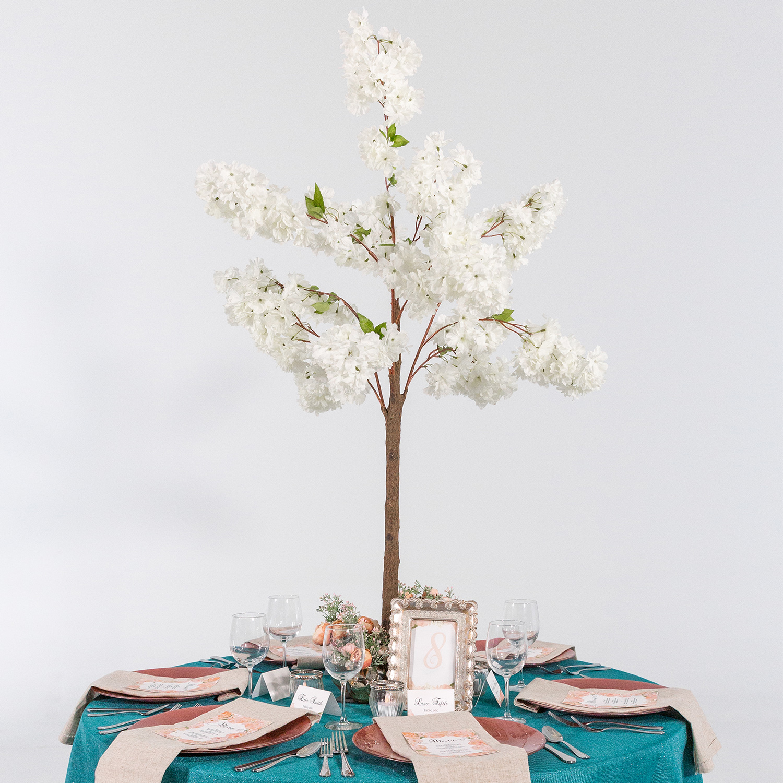 Brilliant 56 4 5Ft Tall Fake Hydrangea Bloom Tabletop Centerpieces Tree White Interior Design Ideas Gresisoteloinfo