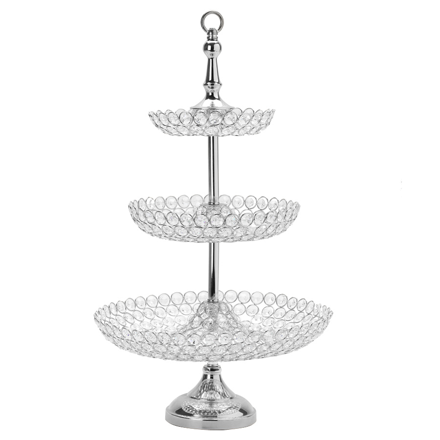 Decostar Crystal 3 Tier Cake Stand 26 Silver