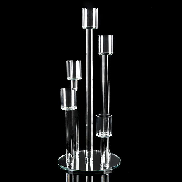 Crystal Cluster Round Glass Candelabra 5 Pillar 9 X 23