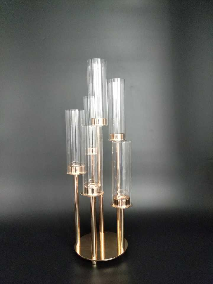 Round Metal Cluster Candle Holder Six Arm 22 Gold