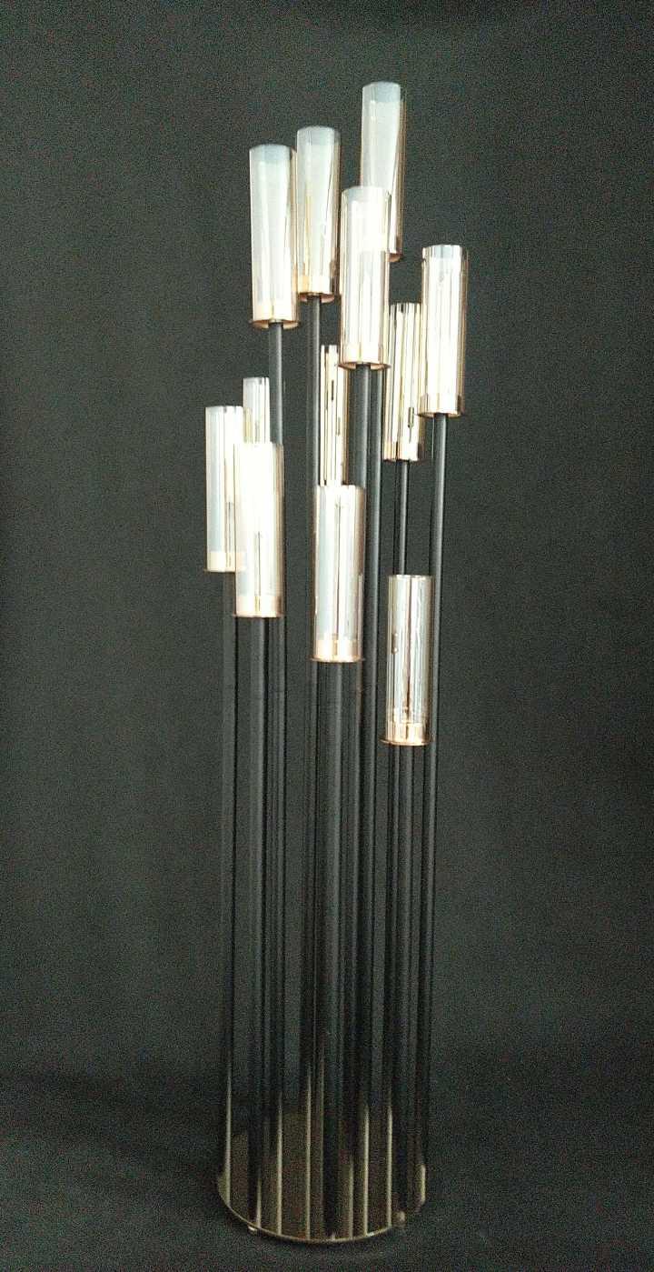 Round Metal Cluster Candle Holder Twelve Arm 54 Black