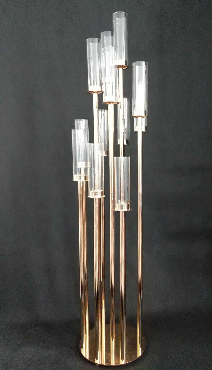 Round Metal Cluster Candle Holder Twelve Arm 54 Gold