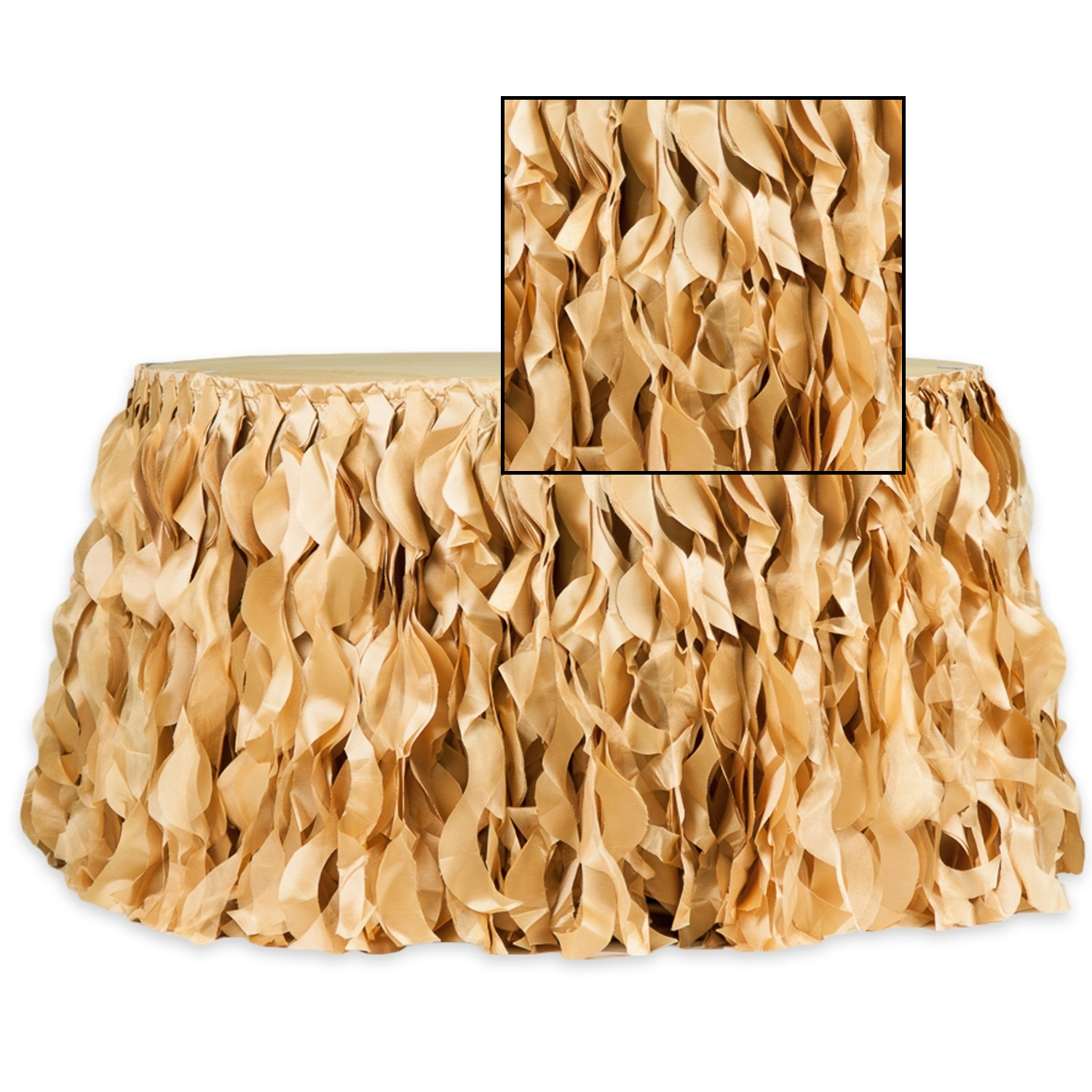 Spiral Taffeta Organza Table Skirt 14 Feet X 30 Inches High Gold