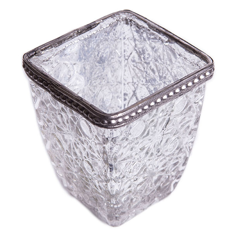 Square Glass w/ Antiqued Black Metal Trim Candle Holder ...