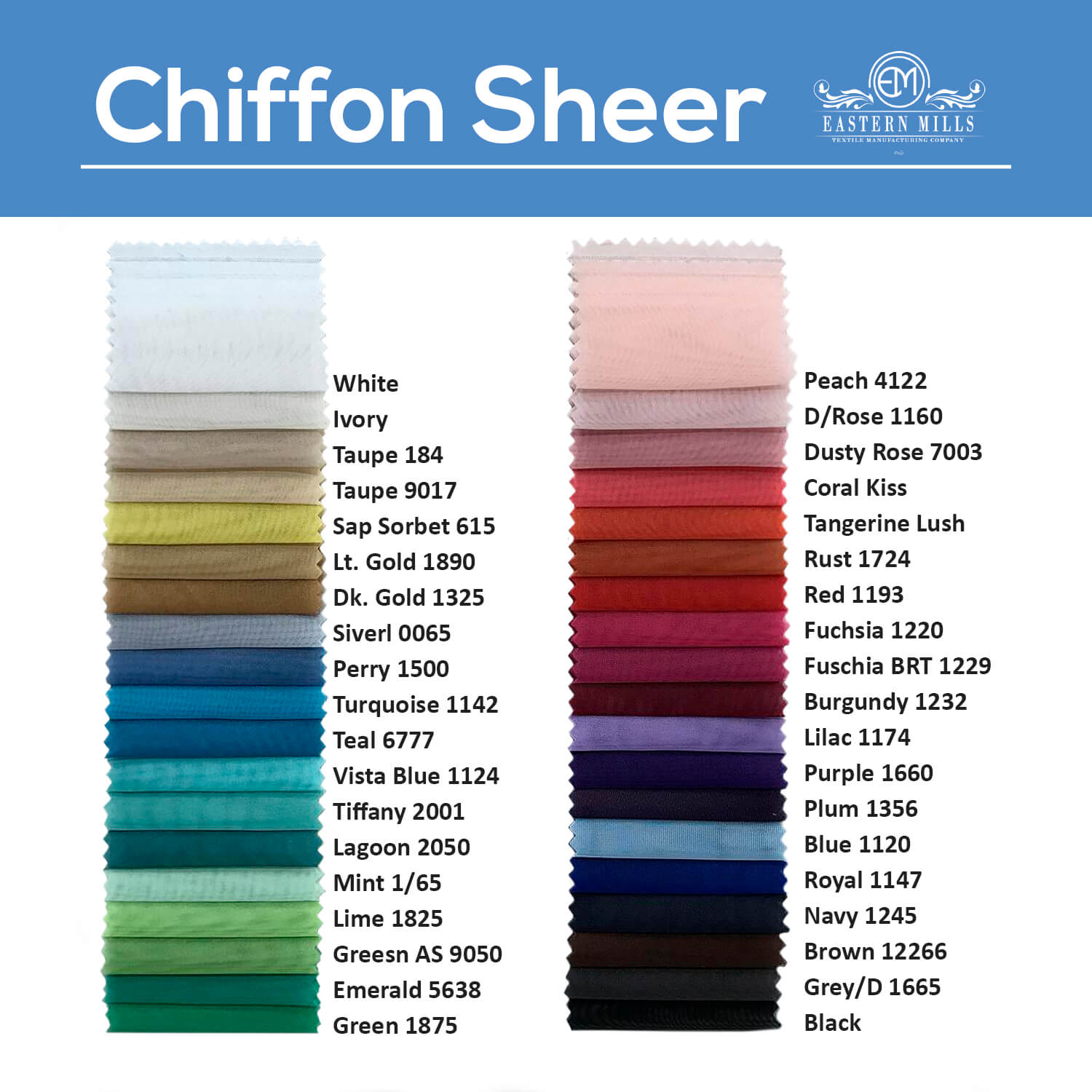 10ft Wide X 10ft Long Chiffon Sheer Curtain Panel W 4 Pockets By Eastern Mills 36 Colors