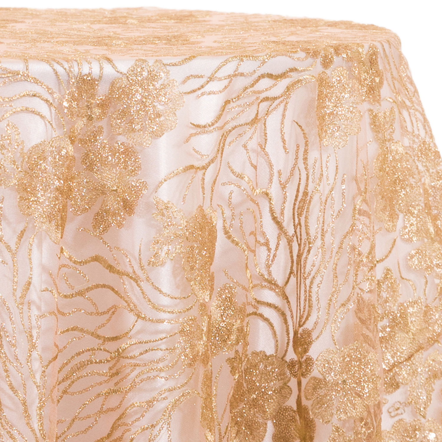 Rose Gold Blooming Sequin Overlay Many Size Options