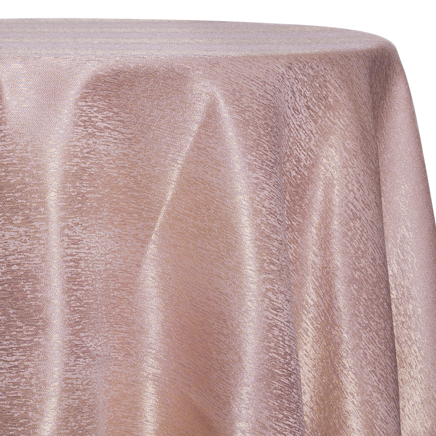 Beige - Designer Mardi Gras Linen Broad Tablecloth by Eastern Mills w/  Brushed Metallic Finish - Many Size Options
