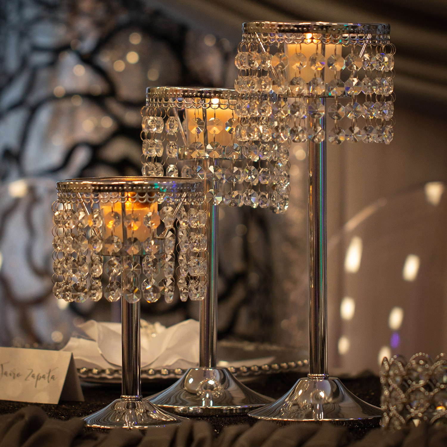 Chrome & Crystal Candle Holders