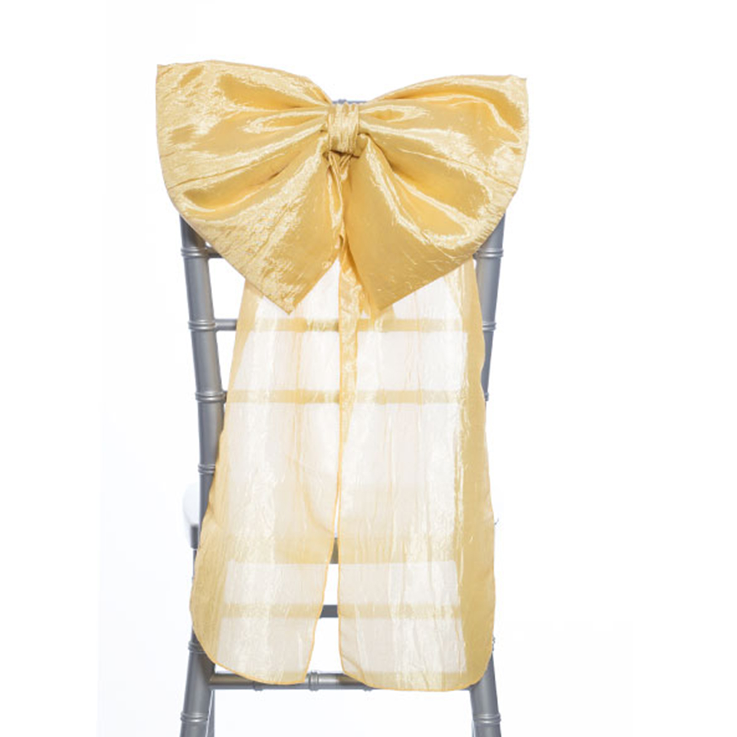 14 Crushed Taffeta Bow Chair Accent Light Gold