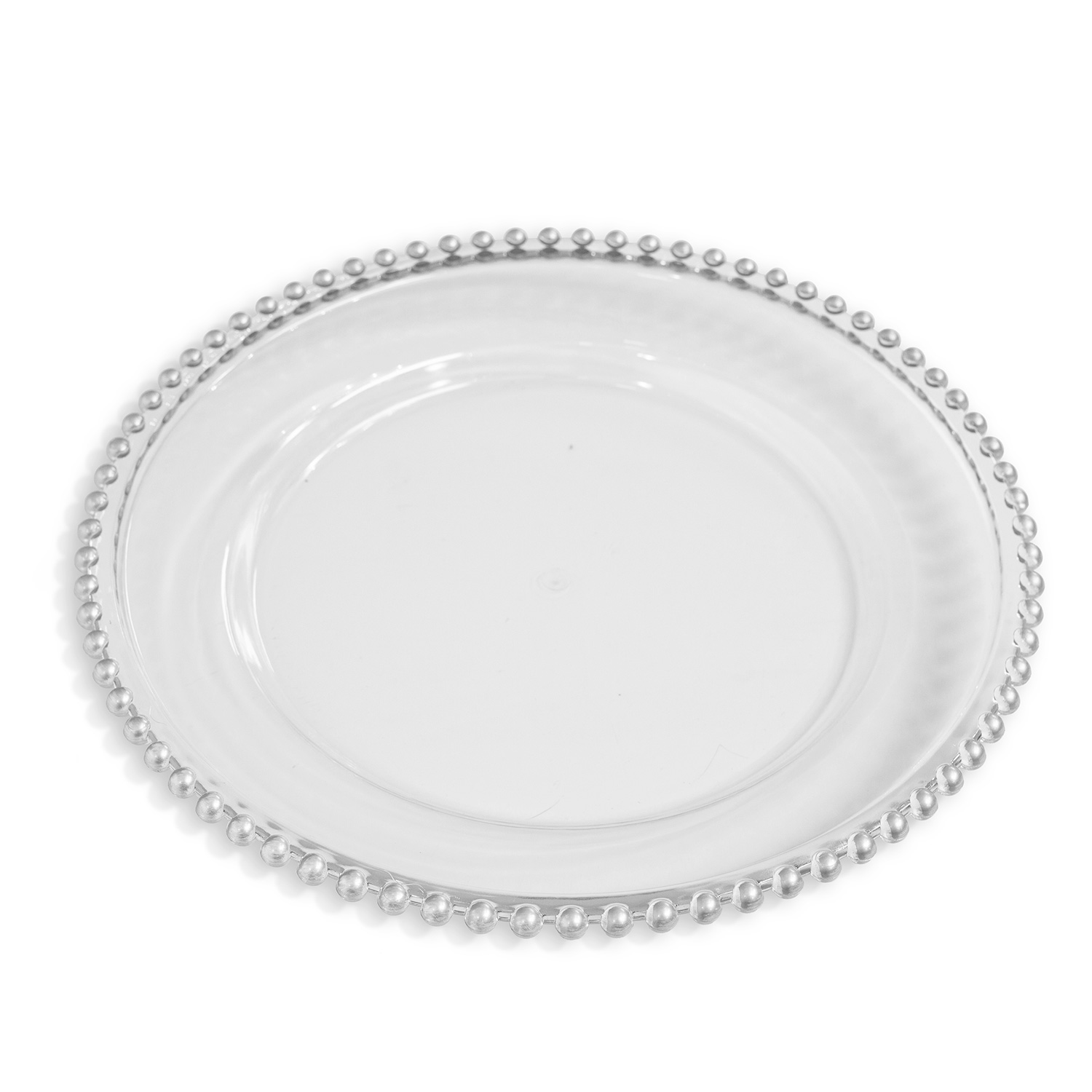 Plastic Beaded Charger Plate 13 24 Pack Silver
