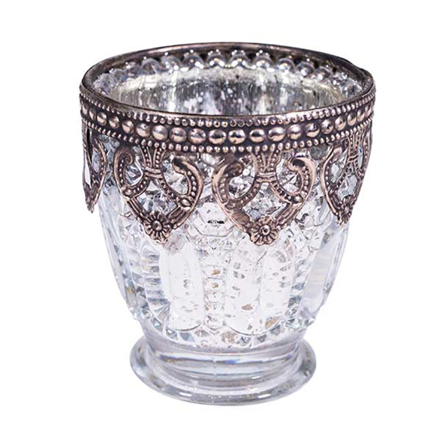 Silver Mercury Votive Candle Holder On Small Pedestal W Metal Rim 3 15 Tall 6 Pack