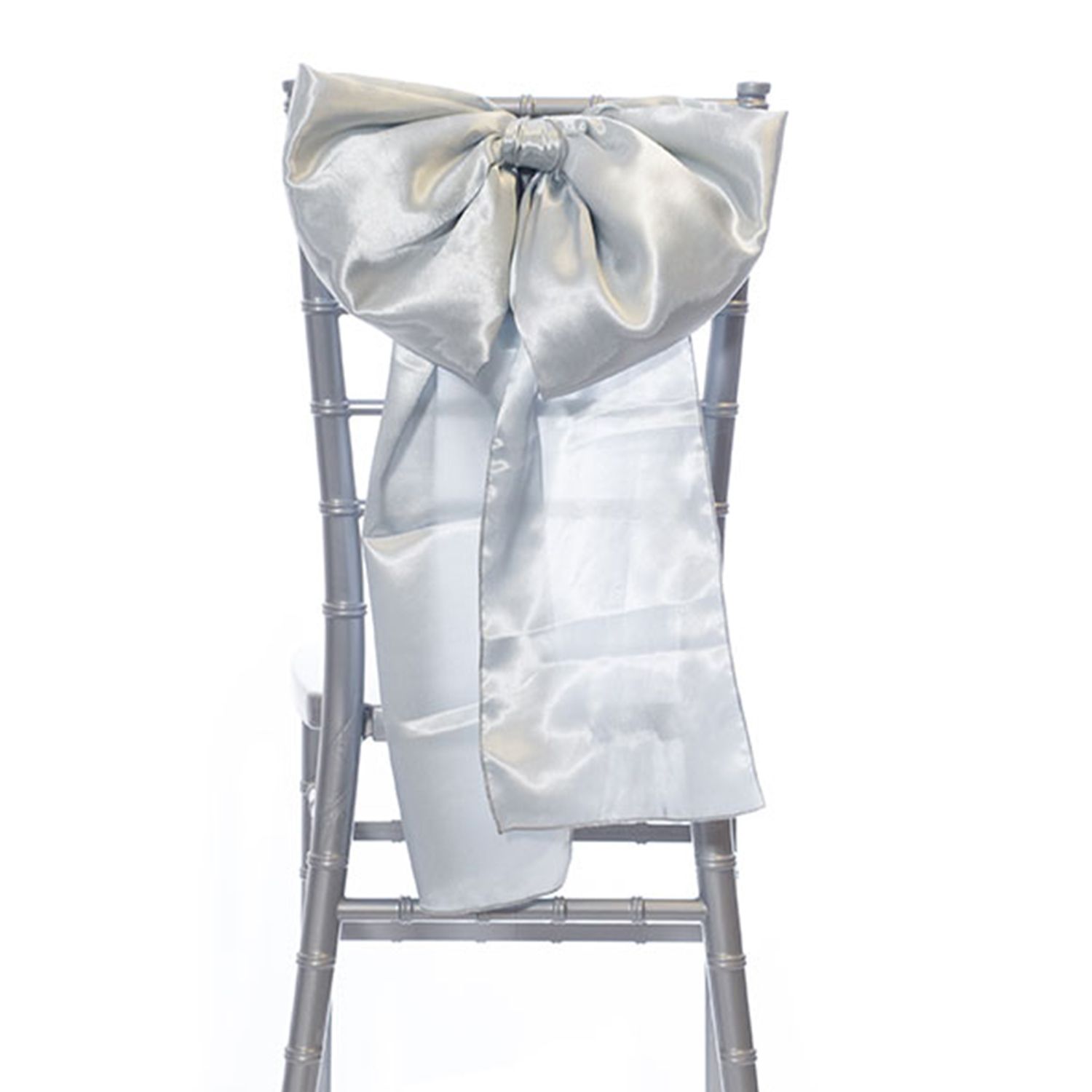 14 Satin Bow Chair Accent Silver