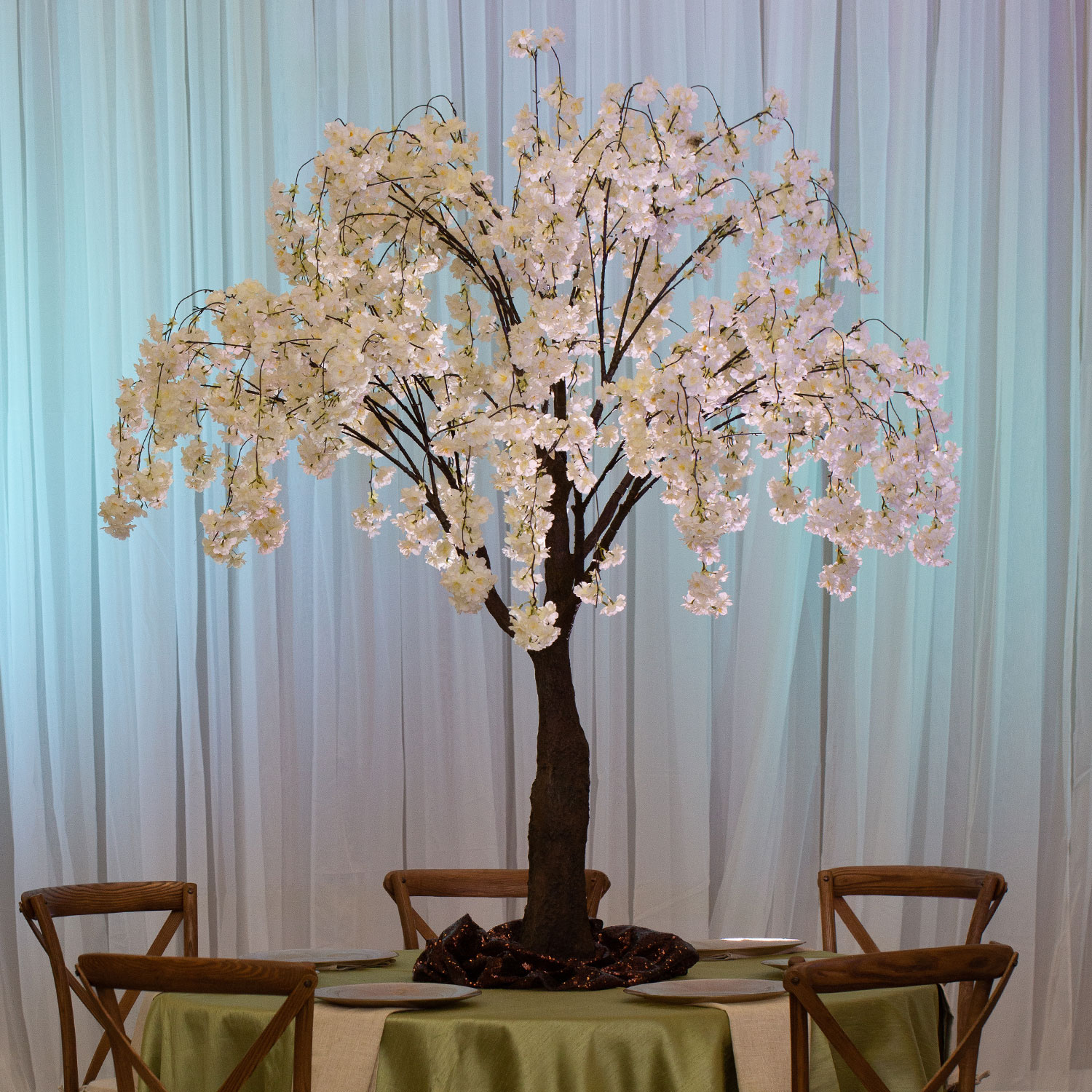 6ft Drooping Cherry Blossom Tree Floor Or Grand Centerpiece White