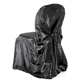 Premium Taffeta (Chameleon) Fabric Chair Cover By Eastern Mills in Black - Universal Fit!