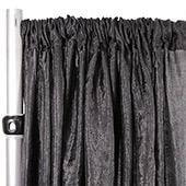 "*FR* Extra Wide Crushed Taffeta ""Tergalet"" Drape Panel by Eastern Mills 9ft Wide w/ 4"" Sewn Rod Pocket - Black"