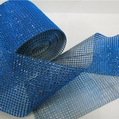 DISCONTINUED ITEM - DecoStar™ Blue Rhinestone Mesh - 30 Foot Roll
