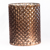 "DecoStar™ 5 1/2"" Glam Diamond Etched Round Mercury Bottomless Candle/Votive Holder - Bronze"