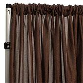 "Extra Wide Crushed Taffeta ""Tergalet"" Drape Panel by Eastern Mills 9ft Wide w/ 4"" Sewn Rod Pocket - Brown"