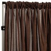 "*FR* Extra Wide Crushed Taffeta ""Tergalet"" Drape Panel by Eastern Mills 9ft Wide w/ 4"" Sewn Rod Pocket - Brown"