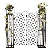 "Brown Metal Garden/Entry Gate - 5' 4"" high x 5' 5"" wide"
