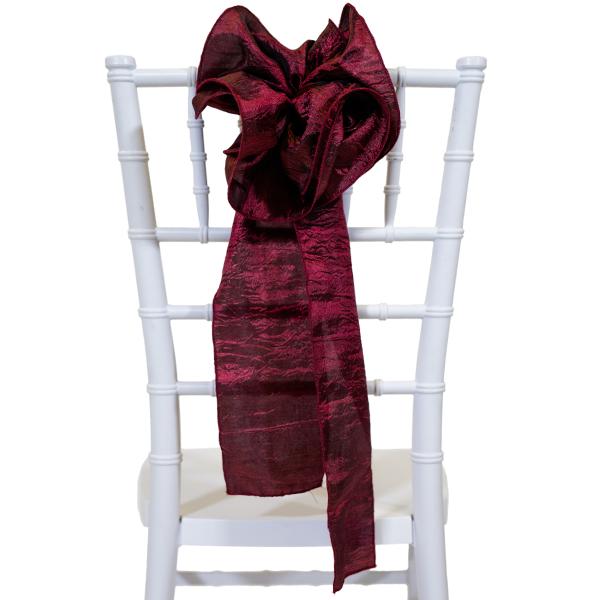 9 Crushed Taffeta Flower Chair Accent Burgundy
