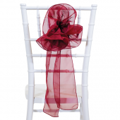 "DecoStar™ 9"" Sheer Flower Chair Accent - Burgundy"
