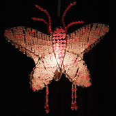 DISCONTINUED - DecoStar™ Pink Acrylic Crystal Beaded Butterfly Chandelier