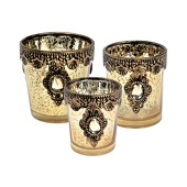 DecoStar™ Set of 3! Vintage Gold Embellished Tea Light - Candle Holder