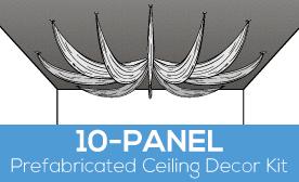 10-Panel Prefabricated Ceiling Decor Kit